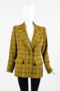 Saint Laurent Vintage Yves Saint Laurent Yellow Wool Silk Tweed Plaid Blazer Jacket