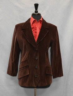 Saint Laurent Yves Saint Laurent Made In France Vintage Brown Striped Velvet Blazer