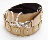 Saint Laurent Yves Saint Laurent Tan Beige Leather Silver Ring Stud Detail Womens Waist Belt