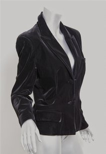 Saint Laurent Yves Saint Laurent Womens Black Velvet Two-button Fitted Blazer Jacket Coat 46m