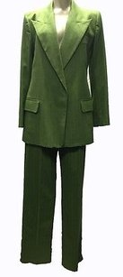 Saint Laurent Yves Saint Laurent Ysl Wool Green Pinstripe Pant Suit Hs2353