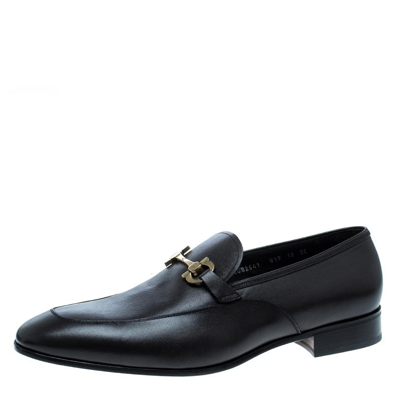 Salvatore Ferragamo Black Leather Germain Bit Loafers Flats Size EU 45 (Approx. US 15) Regular (M, B)
