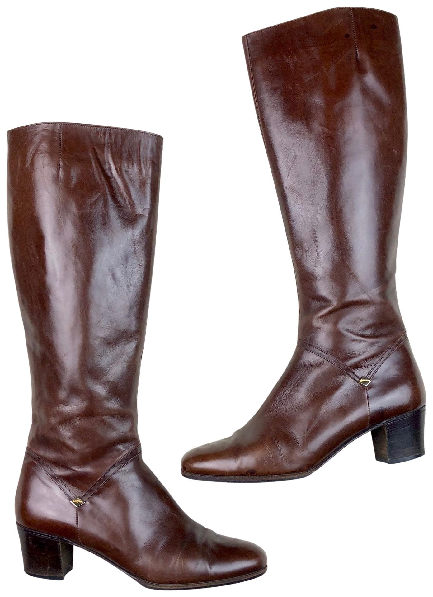 bfba2e1c685 Salvatore Ferragamo Brown Tall Heeled Riding Boots Booties Size US 6.5 6.5  6.5 Narrow (