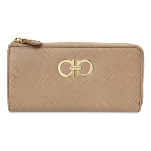 Salvatore Ferragamo Double Gancio Zip Around Wallet - Nutmeg 22B950