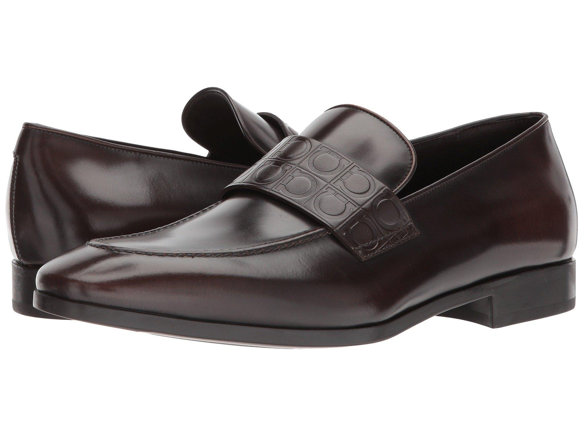 Salvatore Ferragamo Fondente Columbus Mens Leather Loafers Ee Formal Shoes Size US 11 Extra Wide (Ww, Ee)