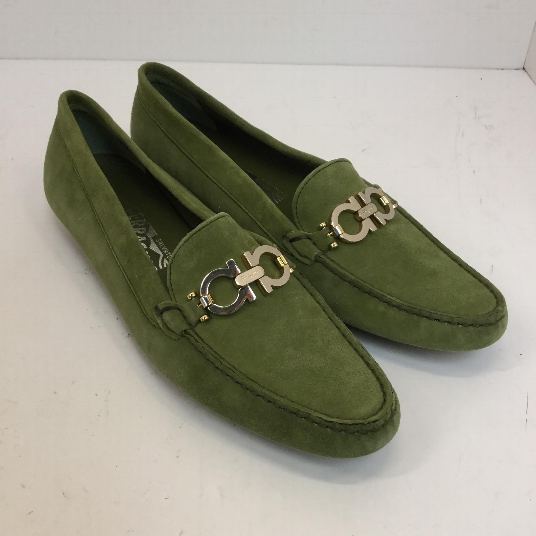 8808f55af12 ... Salvatore Ferragamo Green Suede Horsebit Driving Driving Driving  Loafers - Aa Flats Size US 8.5 Narrow ...
