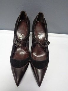 Salvatore Ferragamo Mary Jane Point Toe Heels B3358 Brown And Black Pumps