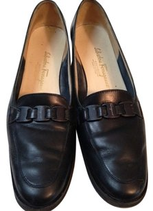 Salvatore Ferragamo Navy Blue Smooth Leather Flats