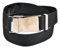 Salvatore Ferragamo Salvatore Ferragamo Black Silver Tone Grosgrain Rectangular Buckle Belt