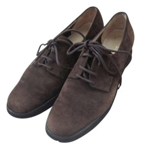 Salvatore Ferragamo Womens Pumps Oxford Made In Italy Suede Leather Brown Flats