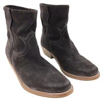 Sam Edelman Charcoal Suede White Stitch Ankle Gray Boots