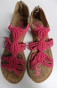 Sam Edelman Zip Back Gladiator Man Made B3452 Brown Pink And Orange Sandals