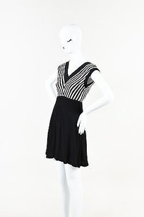Sandro Black Stripe V Dress