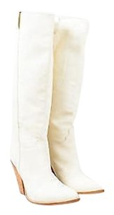 Sartore Leather Stacked Cream Boots