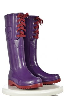 See by Chlo Chloe Womens 366 Color Block Rubber Purple Boots