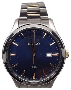 Seiko Seiko Blue Gold Silver Two Toned Stainless Steel Mens Watch Sur081