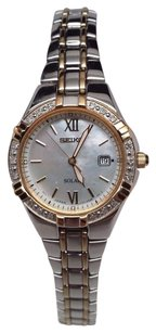 Seiko Seiko Solar Ladies Diamond Two Tone Bracelet Dress Watch Sut068