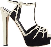Sergio Rossi Suede Leather Sandals Black / White Platforms