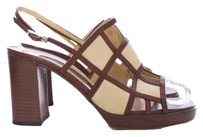 Sergio Rossi Leather Two-tone Caged Chunky Italian Chocolate and Vanilla Sandals