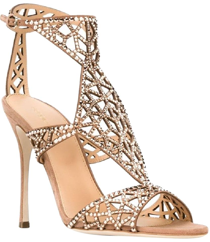 Sergio Rossi Nude 'tresor' Swarovski Crystal and Suede Sandals Size US 9 Regular (M, B)