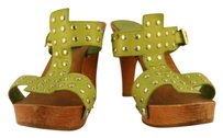 Sergio Rossi Womens Leather Studded Green Sandals