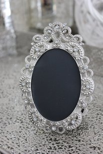 Set Of 10 Jeweled Oval Frames For Table Numbers