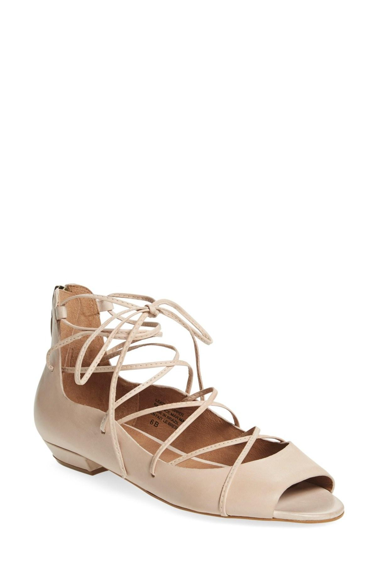 Seychelles Nude Leather Collection Enamour Open Toe Ghillie Flats Flats Ghillie Size US 8.5 Regular (M, B) 0af644