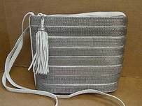 Sharif Vintage Leather Silver Mesh Usa Cross Body Bag