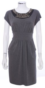 Shoshanna Embellished Stretchy Pockets Pleated Scoop Neck Knit Dress