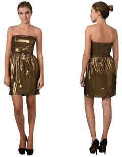 Shoshanna Metallic Strapless Pleated Lame Dress