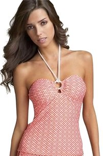 Shoshanna Ml Shoshanna Lattice Tankini Top Coralwhite Halter Ring Keyhole 09lt7023