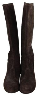 Sigerson Morrison Womens Solid Suede Knee High Pull On Brown Boots