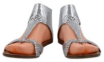 Sigerson Morrison Womens Woven Open Toe Leather Silver Sandals