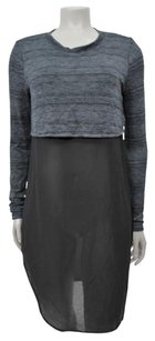 Silence + Noise Urban Outfitters Gray Knit Sheer Underlay Tunic