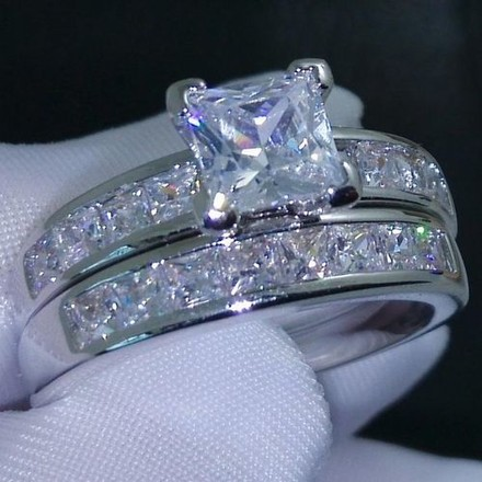 Silver Womens Vintage White Gold Filled A32 #7315 Engagement Ring