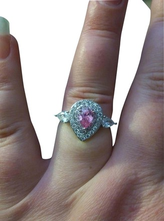 Preload https://item1.tradesy.com/images/silverwhite-gold-tone-pink-and-gemstone-tear-drop-round-halo-ring-22499615-0-1.jpg?width=440&height=440