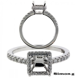 Simon G 29ct Diamond Engagement Ring In 18k Fits 1ct Square Cut