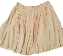 Sisley Pleated Fall Buttons Skirt Beige