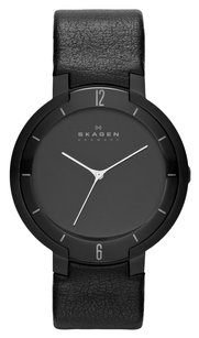 Skagen Denmark Skagen Designer Series Mens Three-Hand Leather Watch - Black Skw6045