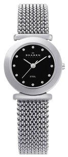 Skagen Denmark Skagen Women's 107SSSB1 Quartz Swarovski Crystals on Black Dial Stainless Steel Watch