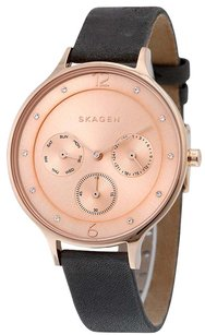 Skagen Denmark SKW2392 Anita Rose Gold Dial Leather Strap Multifunction Women's Watch