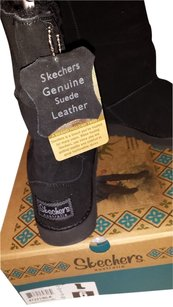 Skechers Suede Leather Faux Fur Size 6m Black Boots