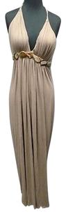 Beige Maxi Dress by Sky Rayon Blend Full