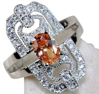 SLIVER VAULT 2CT Padparadscha Sapphire & White Topaz 925 Solid Sterling Silver Ring Sz 7