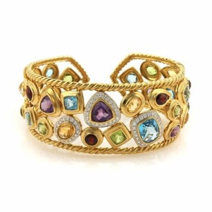 Sophia Eugene Estate Signed 18.75ct Diamonds Multi-gems 18k Yellow Gold Wide Cuff Bracelet