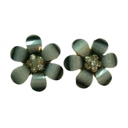 Sparkling Flower Stud Earrings Gray Color W/ Rhinestones