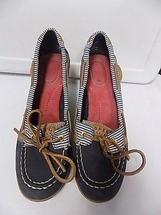 Sperry Top Sider Tie Front Wedge Cotton B3489 Blue White Tan Platforms