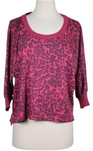 Splendid Womens Animal Print Bat Wing Crewneck Shirt Sweater