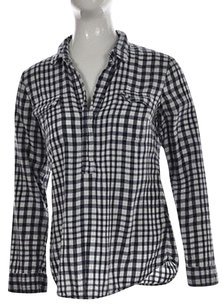 Splendid Womens Cotton Checkered Long Sleeve Shirt Top Navy
