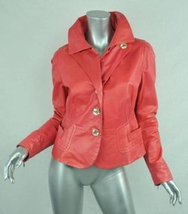 Sportmax Womens Lambskin Leather Blazer Coat Pink Jacket